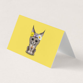 Cute Hippie Lynx Cub Card