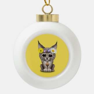 Cute Hippie Lynx Cub Ceramic Ball Christmas Ornament