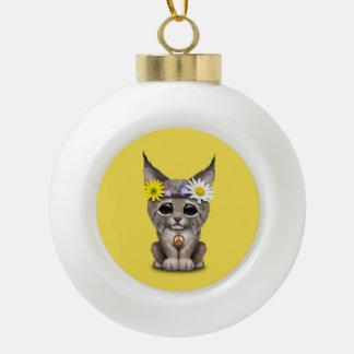 Cute Hippie Lynx Cub Ceramic Ball Christmas Ornament