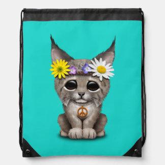Cute Hippie Lynx Cub Drawstring Bag
