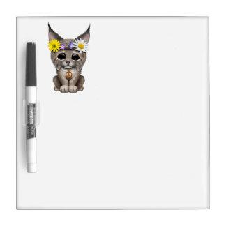 Cute Hippie Lynx Cub Dry Erase Board