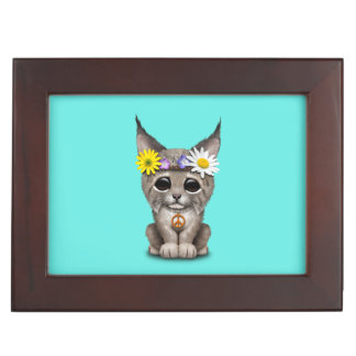 Cute Hippie Lynx Cub Keepsake Box