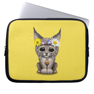 Cute Hippie Lynx Cub Laptop Sleeve