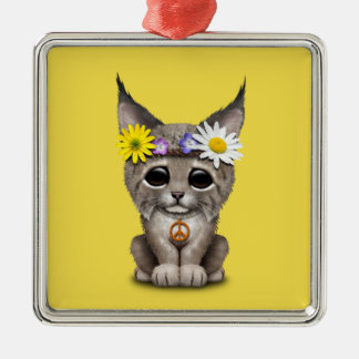 Cute Hippie Lynx Cub Metal Ornament