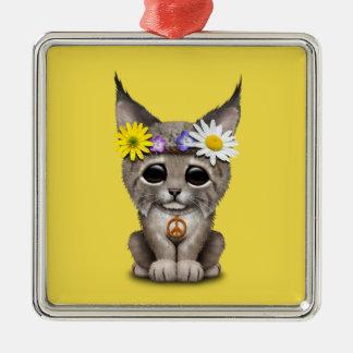 Cute Hippie Lynx Cub Metal Ornament