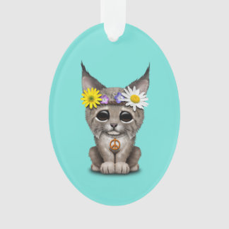 Cute Hippie Lynx Cub Ornament