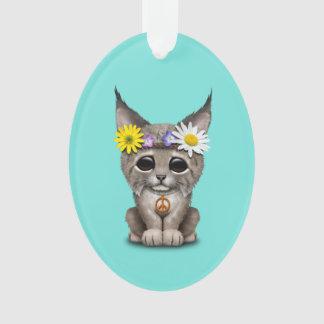 Cute Hippie Lynx Cub Ornament
