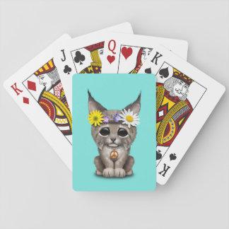 Cute Hippie Lynx Cub Playing Cards