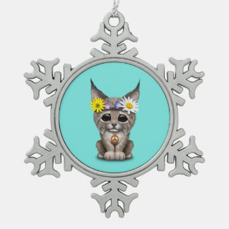 Cute Hippie Lynx Cub Snowflake Pewter Christmas Ornament