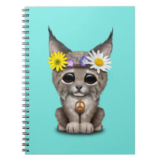 Cute Hippie Lynx Cub Spiral Notebook