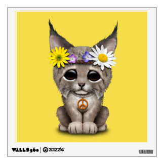 Cute Hippie Lynx Cub Wall Decal