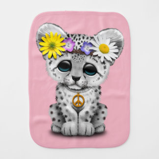 Cute Hippie Snow leopard Cub Baby Burp Cloths