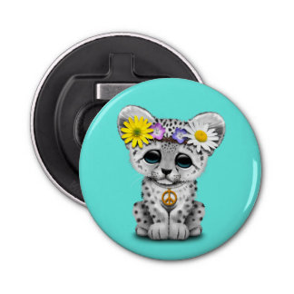 Cute Hippie Snow leopard Cub Bottle Opener
