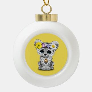 Cute Hippie Snow leopard Cub Ceramic Ball Christmas Ornament