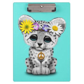 Cute Hippie Snow leopard Cub Clipboard