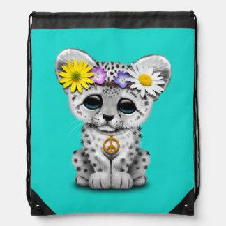 Cute Hippie Snow leopard Cub Drawstring Bag