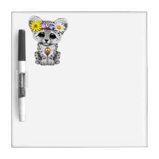 Cute Hippie Snow leopard Cub Dry Erase Board