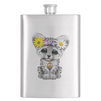 Cute Hippie Snow leopard Cub Hip Flask