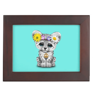 Cute Hippie Snow leopard Cub Keepsake Box