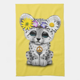 Cute Hippie Snow leopard Cub Kitchen Towel