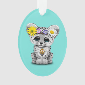Cute Hippie Snow leopard Cub Ornament