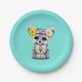 Cute Hippie Snow leopard Cub Paper Plate