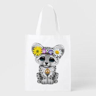 Cute Hippie Snow leopard Cub Reusable Grocery Bag