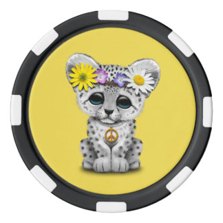 Cute Hippie Snow leopard Cub Set Of Poker Chips