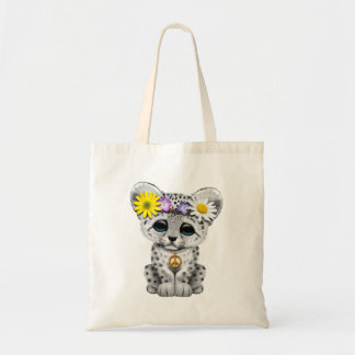 Cute Hippie Snow leopard Cub Tote Bag