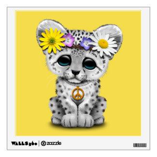 Cute Hippie Snow leopard Cub Wall Decal