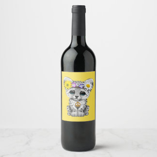 Cute Hippie Snow leopard Cub Wine Label