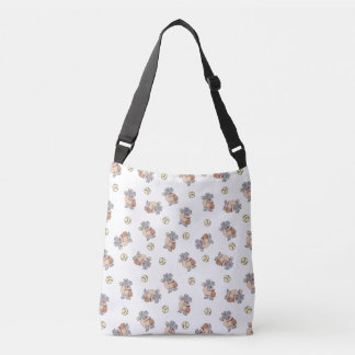 Cute Hippo Baseball Pattern Crossbody Bag