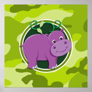 Cute Hippo bright green camo camouflage Print