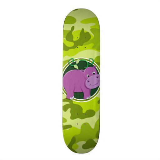 Cute Hippo; bright green camo, camouflage Custom Skateboard
