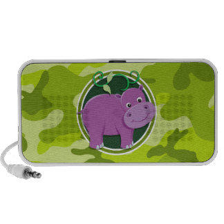 Cute Hippo; bright green camo, camouflage Travel Speakers