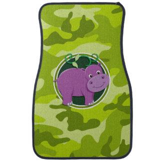 Cute Hippo; bright green camo, camouflage Car Floor Carpet