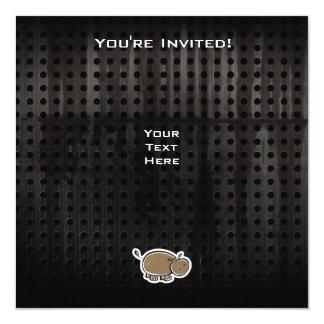 """Cute Hippo; Cool 5.25"""" Square Invitation Card"""