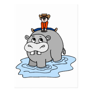 Cute Hippo for kids 4 Postcard