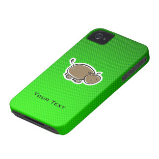 Cute Hippo; Green iPhone 4 Case