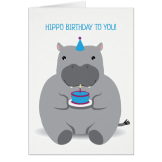 Cute Hippo Happy Birthday Greeting Card