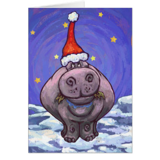 Cute Hippo Holiday Card