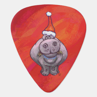 Cute Hippo in Santa Hat on Red Guitar Pick