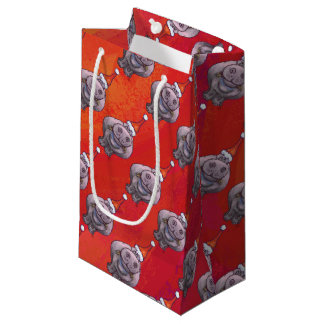 Cute Hippo in Santa Hat Pattern on Red Small Gift Bag