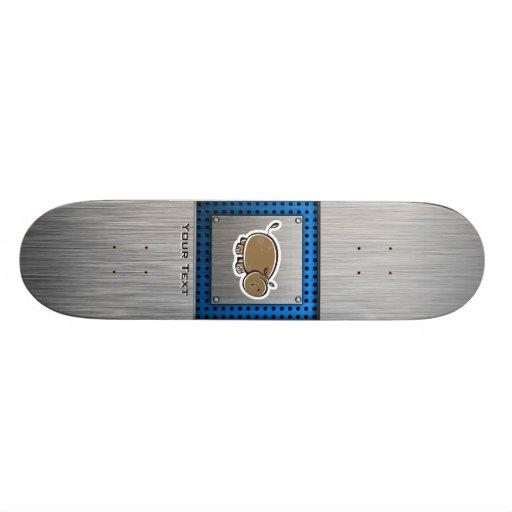 Cute Hippo; Metal-look Skate Deck