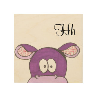 Cute Hippo Panel Art - H is for Hippo Wood Canvases