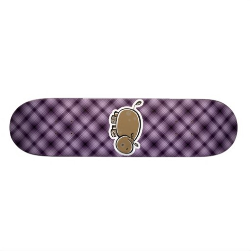 Cute Hippo; Purple Custom Skateboard