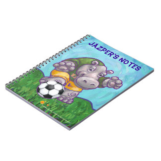 Cute Hippo Soccer Star Personalized Notebook