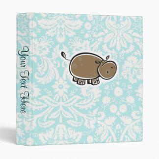 Cute Hippo; Teal Vinyl Binders