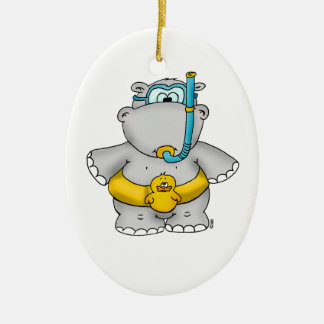 Cute Hippo with a Floating Tire and googles Ceramic Oval Ornament