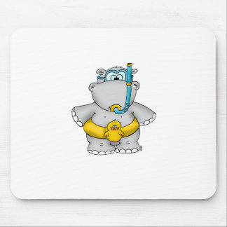 Cute Hippo with a Floating Tire and googles Mouse Pad